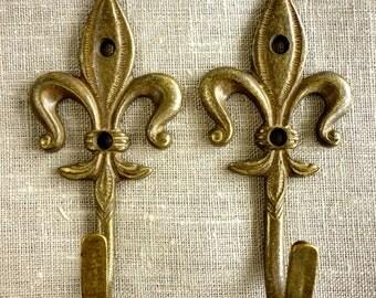 2 ////  Fleur de Liz Solid Brass Hooks