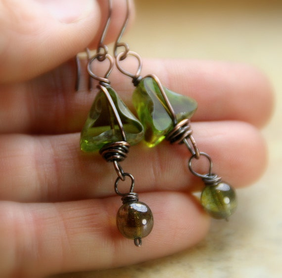 Spring Clearance - Forest Nymph - Mossy Czech Glass Beads Copper Wrapped  with Dangles