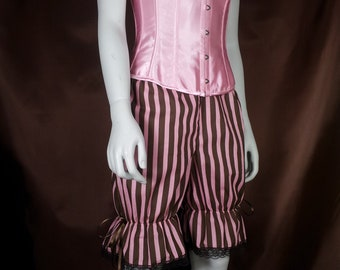 size uk 8 brown and pink stripe cotton bloomers