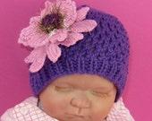 Digital file pdf download knitting pattern Baby Chunky Lacey Flower Skullcap - Knitting pattern pdf download