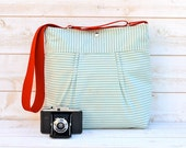 Reserved for elm ---WATER PROOF- Cross body bag / Diaper bag STOCKHOLM Pale Turquoise and Ecru Striped