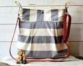 Waterproof Gray BEST SELLER Diaper bag/Messenger bag STOCKHOLM gray and ecru nautical stripe bag purse - 10 Pockets - Red leather strap