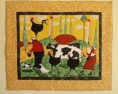 Whimsical Tuscan Farm Scene Quilted Wall Hanging
