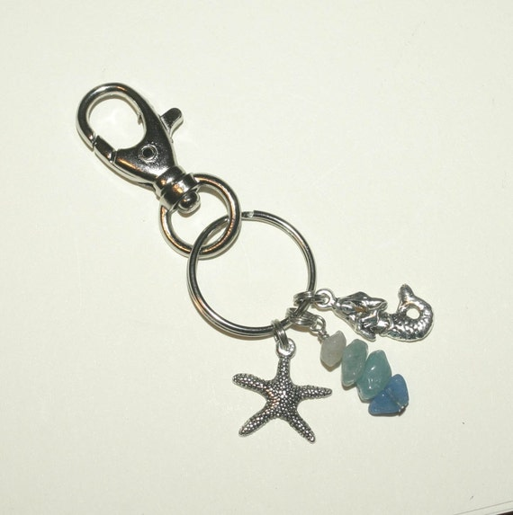 Keychain, Key Ring, Silver Memaid and Starfish, Beach, Jade, Large Lobster Clasp