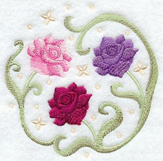 Items Similar To English Tea Rose Circle Embroidered Terry
