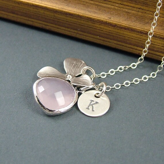 Personalized Necklace Orchid, Pink Glass Drop and Custom Initial Necklace - 'Isobella' - Sterling Silver