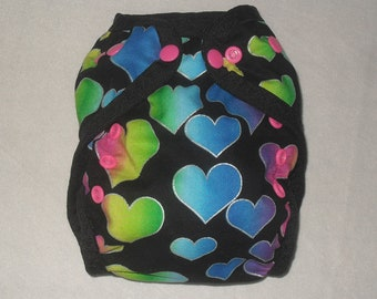 Hearts on black one size Pul Diaper cover