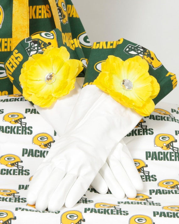 Green and Gold NFL Packers Diva Gloves Retro fabric for Dish washing and Cleaning