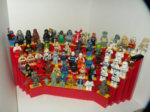 Handcrafted Wooden Star Wars Lego Minifigure Tabletop Display Shelf,Gloss Red with yellow lego plates
