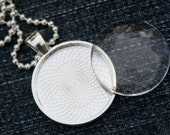 """Photo Jewelry kit with 25mm 1-inch glass cabochon, 25mm silver plated bezel setting, 24"""" ball chain. 5-pack.  High quality glass."""