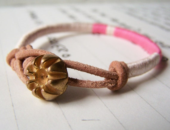 COOPER bracelet - textile, leather, vintage button closure (pearl carnation), handmade jewelry