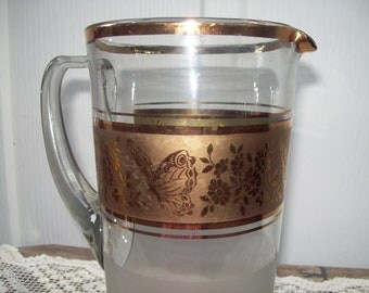 Vintage Midcentury Gilded Glass Pitcher