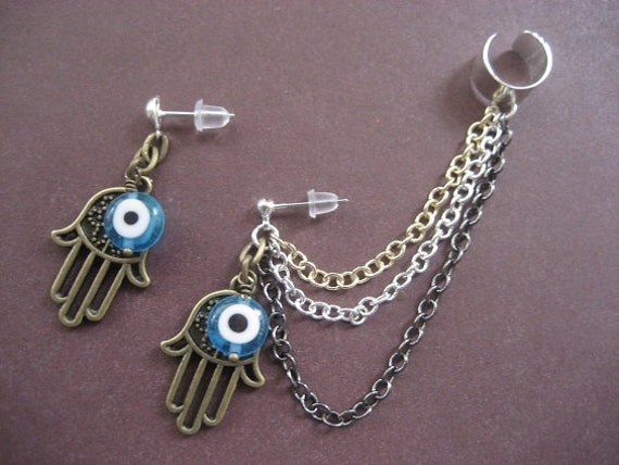 Blue Eyed Ear Cuff Chain Earring Set- Turkish Evil Eye Hamsa Hand of Fatima Charm Cartilage Earcuff
