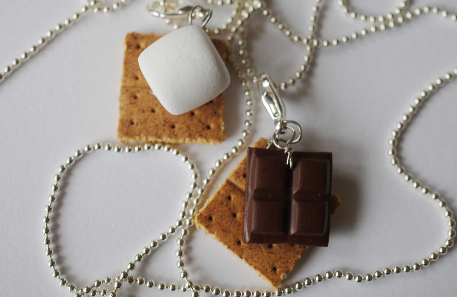smore best friend necklaces miniature food by