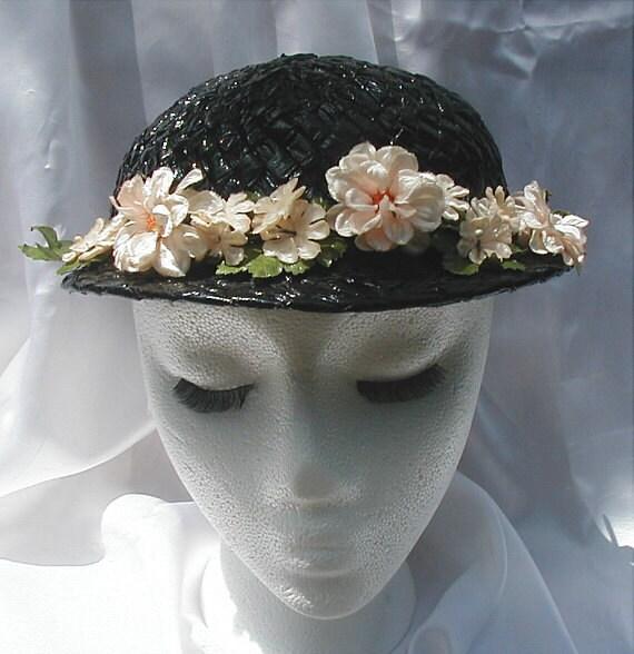 Vintage 1930s Black Raffia Straw Flowered Hat