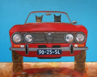 """178 Alfa GTV by Bertone and two cats – print 14x14cm/5.5x5.5"""""""