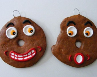 Vintage Style Folk Art Donut Ornaments Set