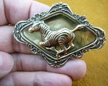 running Zebra lover I love wild zebras on diamond shaped flower scrolled repro Victorian brass pin B-ZEB-1