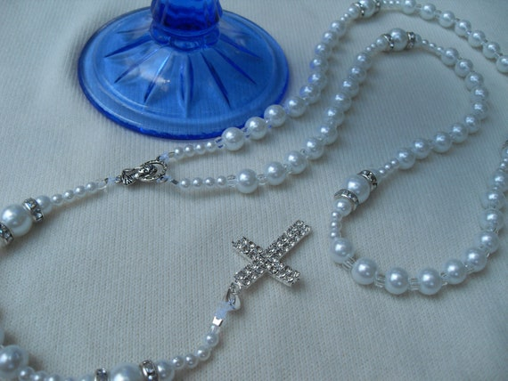 RESERVED for JESSICA Rosary Snow White Pearl Beads Czech Crystal Accents Gorgeous Double Crystal Cross Wedding for Bride