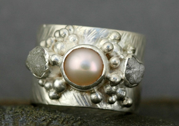 Raw Diamonds and Champagne Freshwater Pearl in Textured Sterling Silver Ring- Custom Made