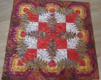 Batik Pineapple Log Cabin Wall Hanging Quilt