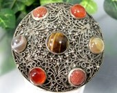 Vintage 900 SILVER CANNETILLE PEBBLE Pin Tiger's Eye Gold Stone Agate Filigree