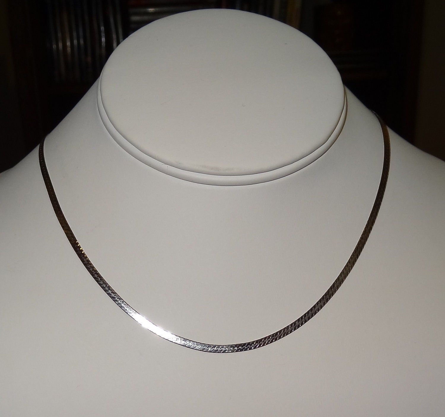 vintage 14k white gold flat herringbone chain necklace