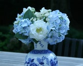 arrangement in blue and white vase