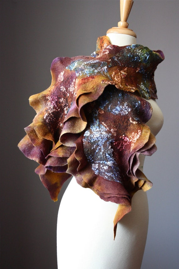 Nuno Felted scarf  Wool  Silk handdyed painted ruffled Rust  Brown Burgundy nunofelting