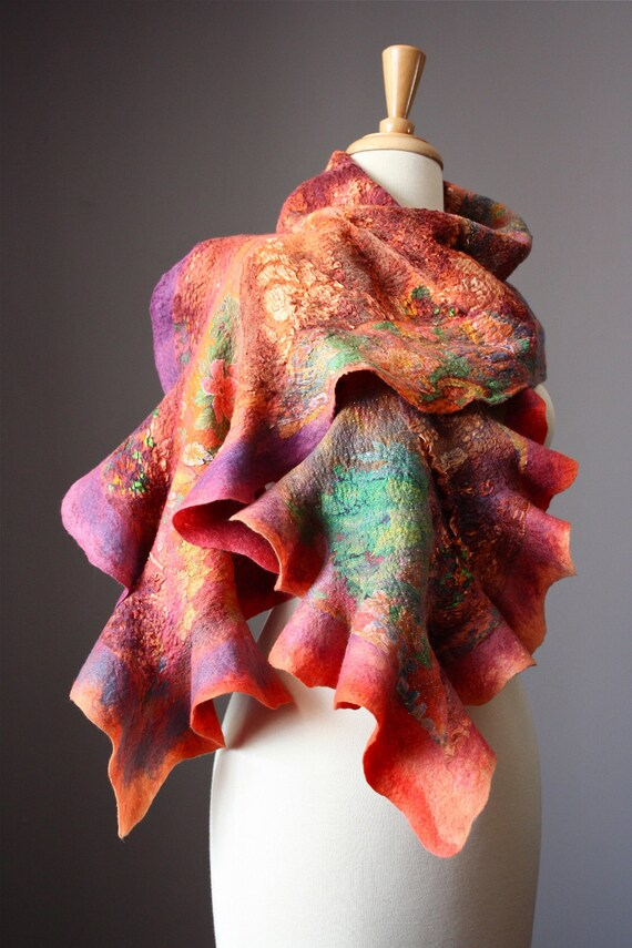Nuno Felted scarf  Wool  silk  collage  ruffled purple green orange  nunofelting by VitalTemptation