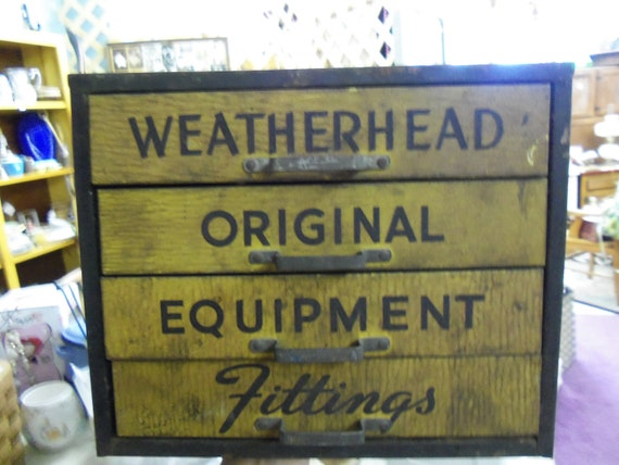 Vintage Weatherhead Original Equipment Fittings 4 Drawer Counter Top Tin Store Display Cabinet from Rustysecrets - FREE SHIPPING