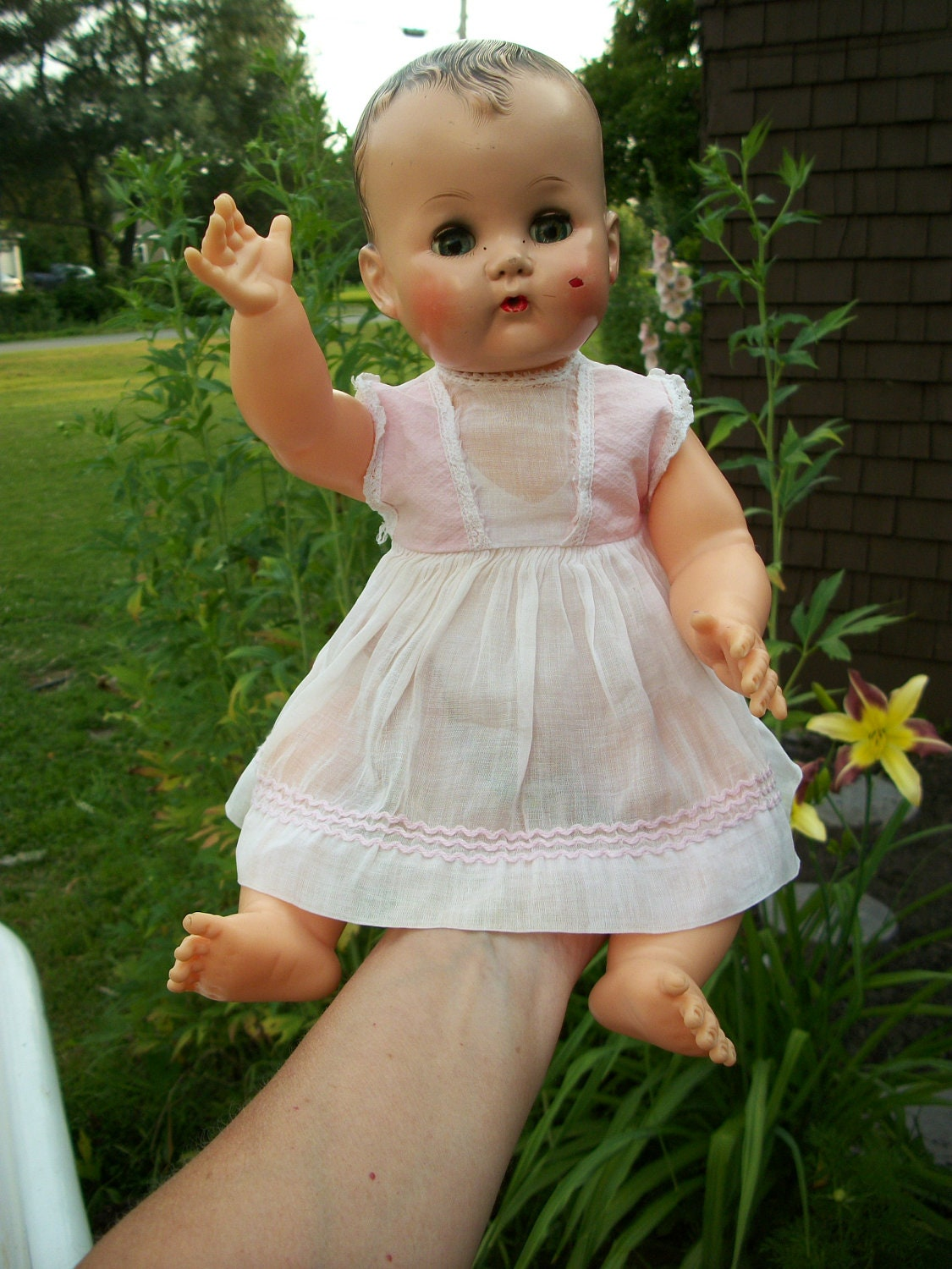 Vintage 1955 Ideal Betsy Wetsy Doll With Original Dress From