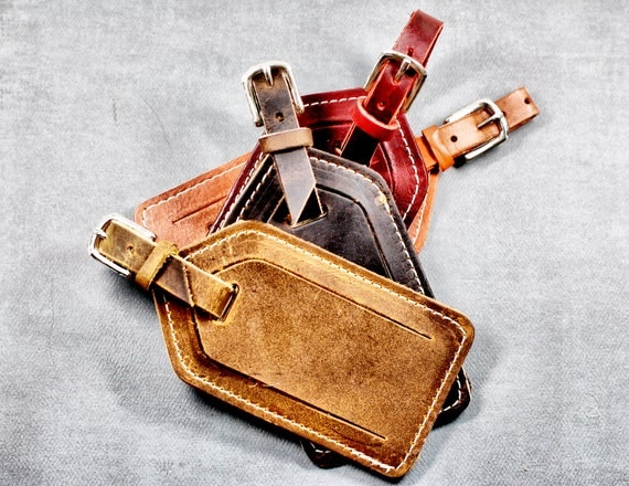 Leather Luggage Tag - Travel Gift with Free Monogramming