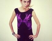 Kissing Jackalope tshirt dress - eco-friendly neon purple ink screenprint on black cotton - womens sizes S, M, L