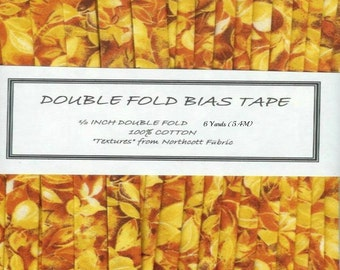 Double Fold Bias Tape - Handmade - 6 Yards (5.44M)  - TEXTURES  in Fall Colors - From Northcott Fabrics