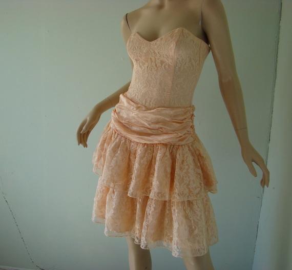 Peach Sparkle Prom Dress 1990 S Vintage Gunne By