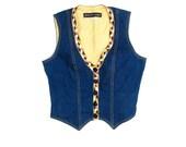 Denim Vest Ribbon Trim Blue Jean Vest 90s Vintage size 8