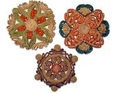 Vintage Straw Trivets set of three Boho Ethnic Decor