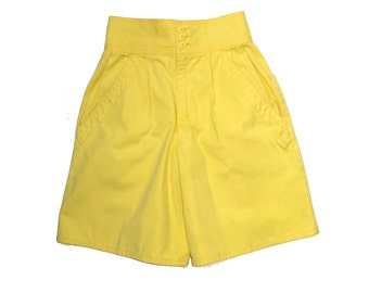 80s Esprit Shorts Bright YELLOW High Waisted Culotte Shorts XS S size 5 to 6