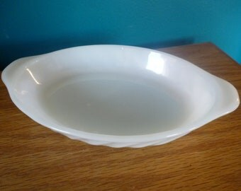 Vintage FIRE KING White Milk Glass Individual Oval Swirl Casserole Dish