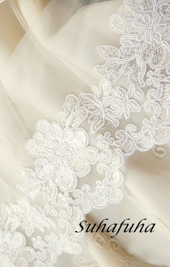 White Embroidered Floral Soutache Bridal Lace- 1 yard