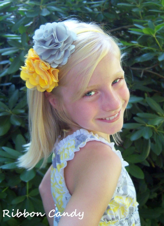 Yellow and Grey Headand, yellow and gray headband, Satin and Tulle Flower Headband,  shabby flower headband - girls headband , hard headband