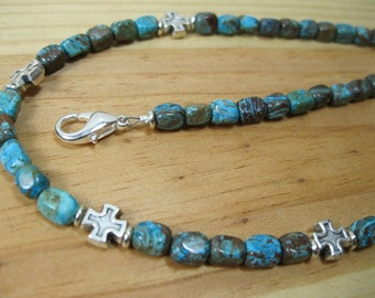 Blue Jasper, Pewter Cross Necklace, Mens Tribal Necklace, Cross Necklace, Mens Cross Necklace, Mens Beaded Necklace, Southwestern Necklace