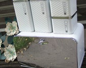 Bread Box and Canisters Set of 5 Chrome and White Lincoln BeautyWare Bridal Gift