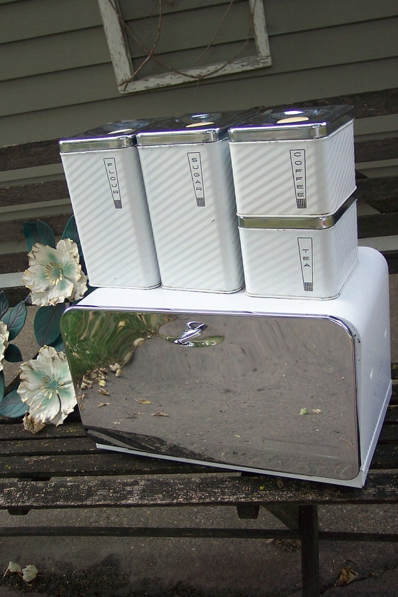 Bread Box And Canisters Set Of 5 Chrome And White By