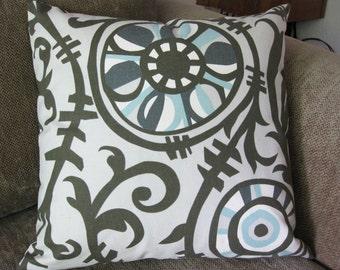"One Decorative Pillow Cover, 18"" x 18"", Suzani Print, Aqua, Cream and Shades of Gray"