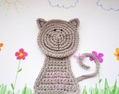 Grey Crochet Cat Coaster, Animal Coaster (1 piece)