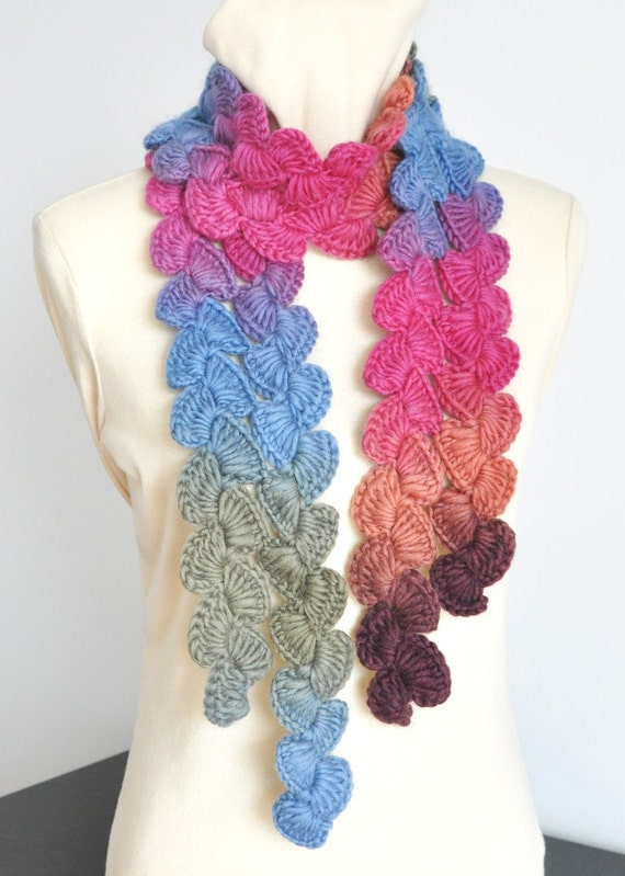 Crochet Patterns Multicolor Yarn : Crochet Multicolor Wool Yarn Scarf by jennysunny on Etsy