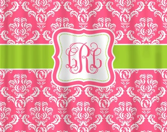 Damask Coordinated Custom Shower Curtains - Shown in Berry Pink & Apple Green Accent - Available any color