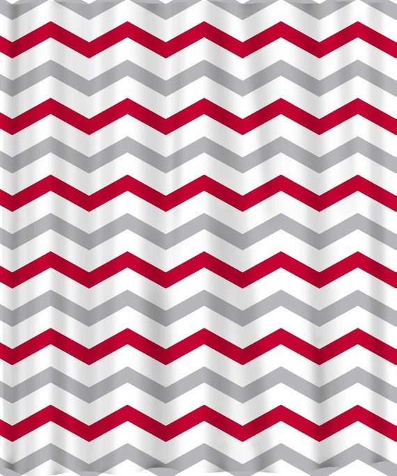 Custom Colors Shower Curtain -Chevron  or Stripes Red Grey and white - ANY color of your choice